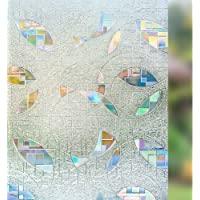 Rabbitgoo Static Cling Decorative Window Films,Stain Glass Window Film UV Block Heat Control,Privacy Window Film 3D…