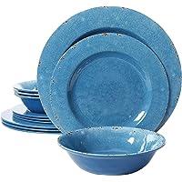 Gibson Studio 12 Piece Mauna Melamine Dinnerware, Blue