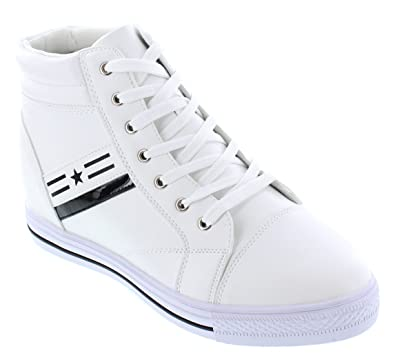 afedff003ec CALDEN Men s Invisible Height Increasing Elevator Shoes - White Leather  Cap-Toe Lace-up