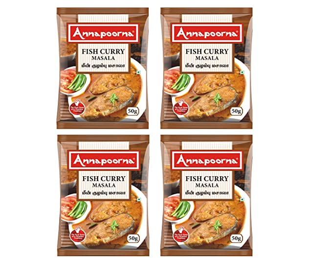 Annapoorna Fish Curry Masala , 50 Grams, Pack of 4 (200gm)