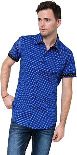 RNZ Mens Short Sleeve Shirts with Contrast Trimming and Star /& Dot Prints T07 White//Blue