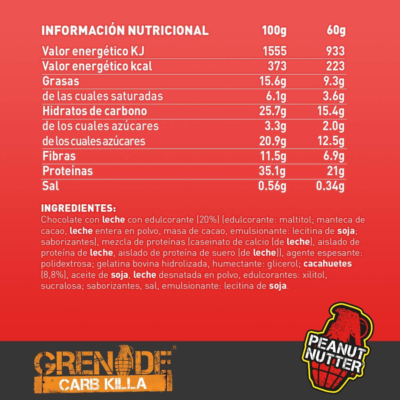 Grenade Carb Killa High Protein and Low Carb Barra Sabor Peanut Nutter - 12 Unidades