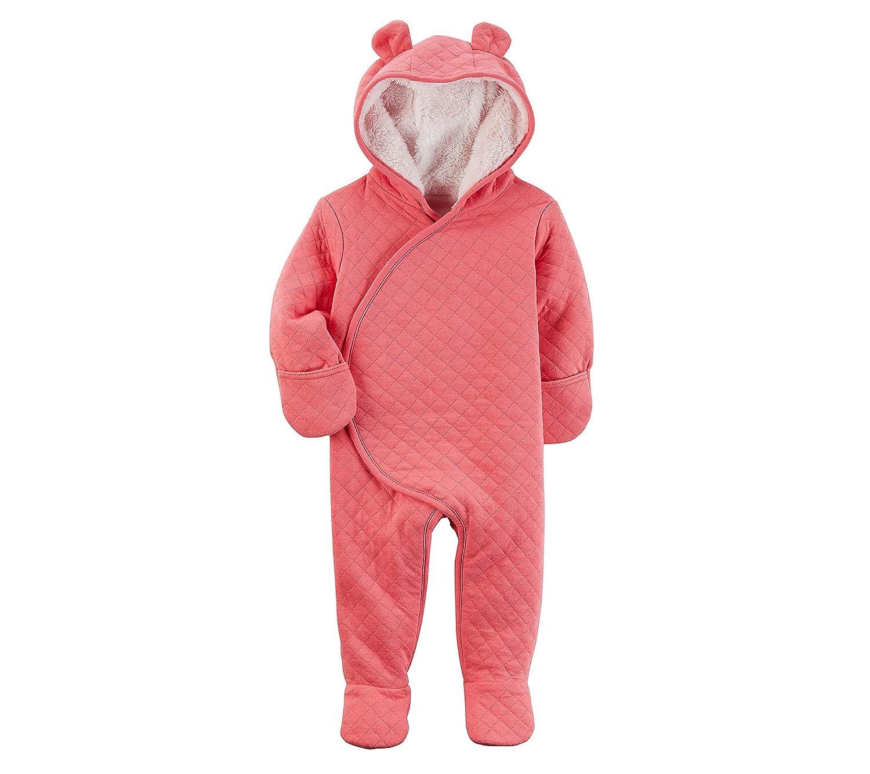 Carter's Baby Girls' Newborn-9M Hooded Quilted Pram Sleep & Play Carter's