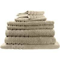 Egyptian Cotton 8 Pieces Bath Towel Combo Set, Premium Weight 600GSM, 2 Bath Towels, 2 Hand Towels, 2 Face Washers, 1 Bath Mat and 1 Washer Glove