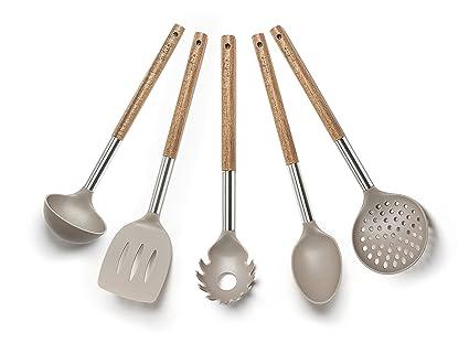 Excelsa natural life set utensili da cucina nylon tortora 5 unità