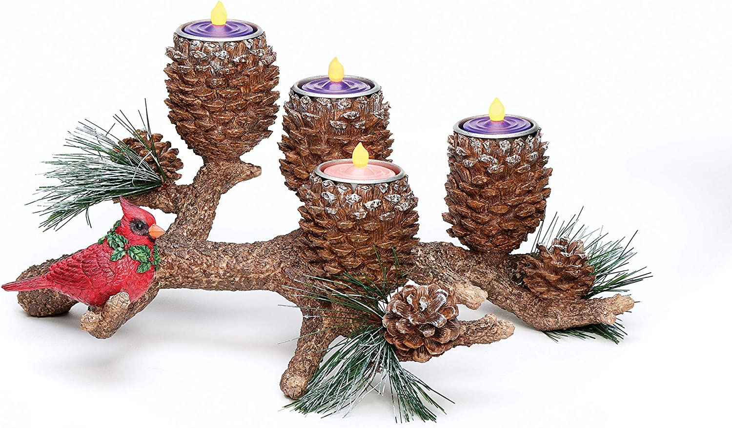 """Roman Christmas - Pinecone Advent Candle Holder, 6.25"""" H, Christmas Collection, Resin, Advent, Candle Holder, Inspirational, Durable, Long Lasting, Beautifully Detailed"""