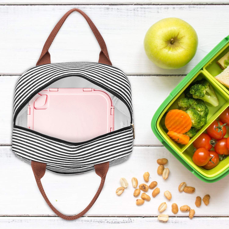 CoolBELL Sac /à Lunch Sac Repas Isotherme Fourre-Tout Lunch Bag Portable Fleur Glaciere Souple Sac Fraicheur pour D/éjeuner//Pique-Nique//Enfant//Travail//Fille//Picnic///École//Femmes Rayures Color/ées 10L