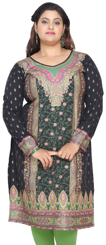 Maple Clothing Women's Plus Size Dress Indian Tunics Kurti Long Top Eplus107p