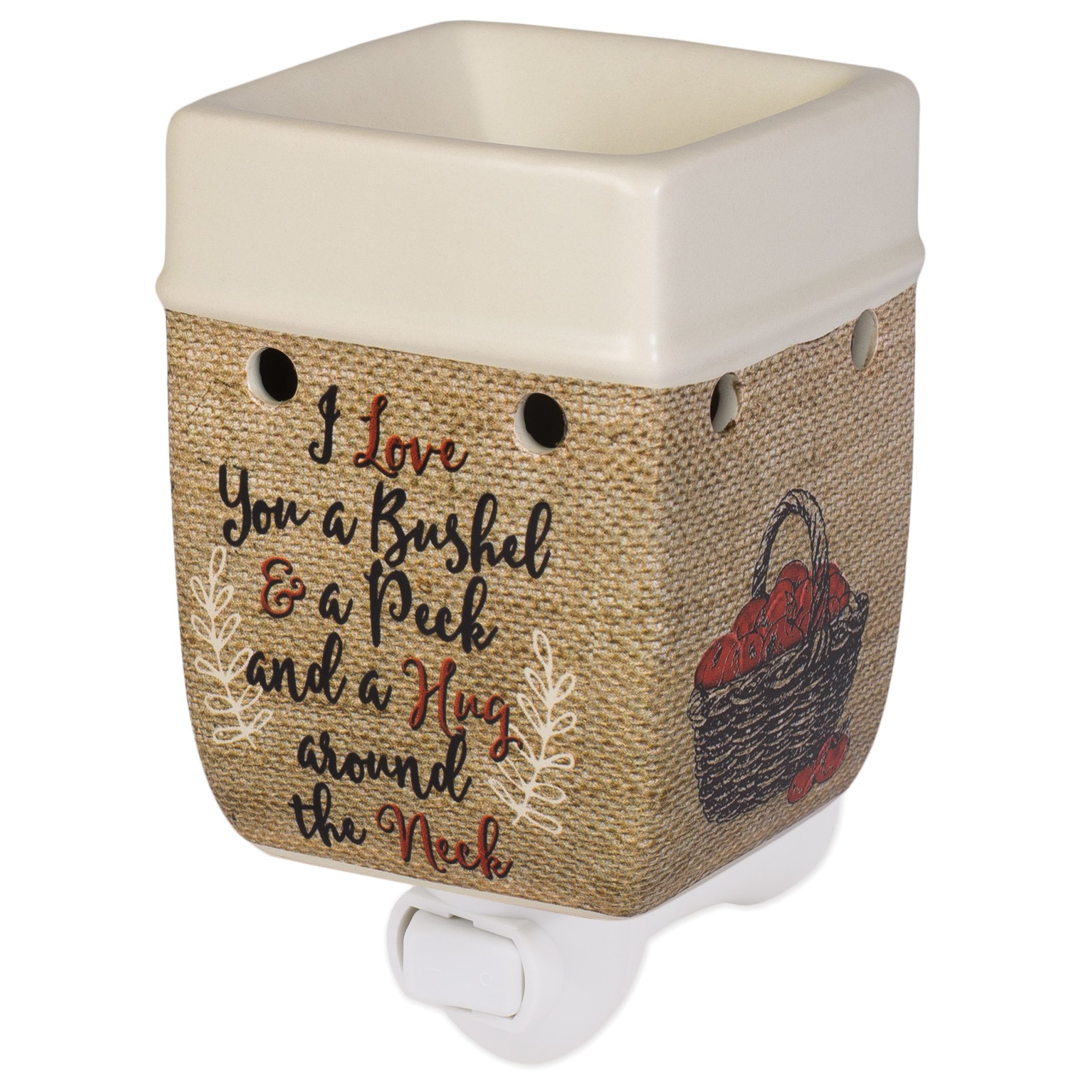 Elanze Designs I Love You A Bushel A Peck Burlap Apples Cream Ceramic Stone Plug-in Warmer