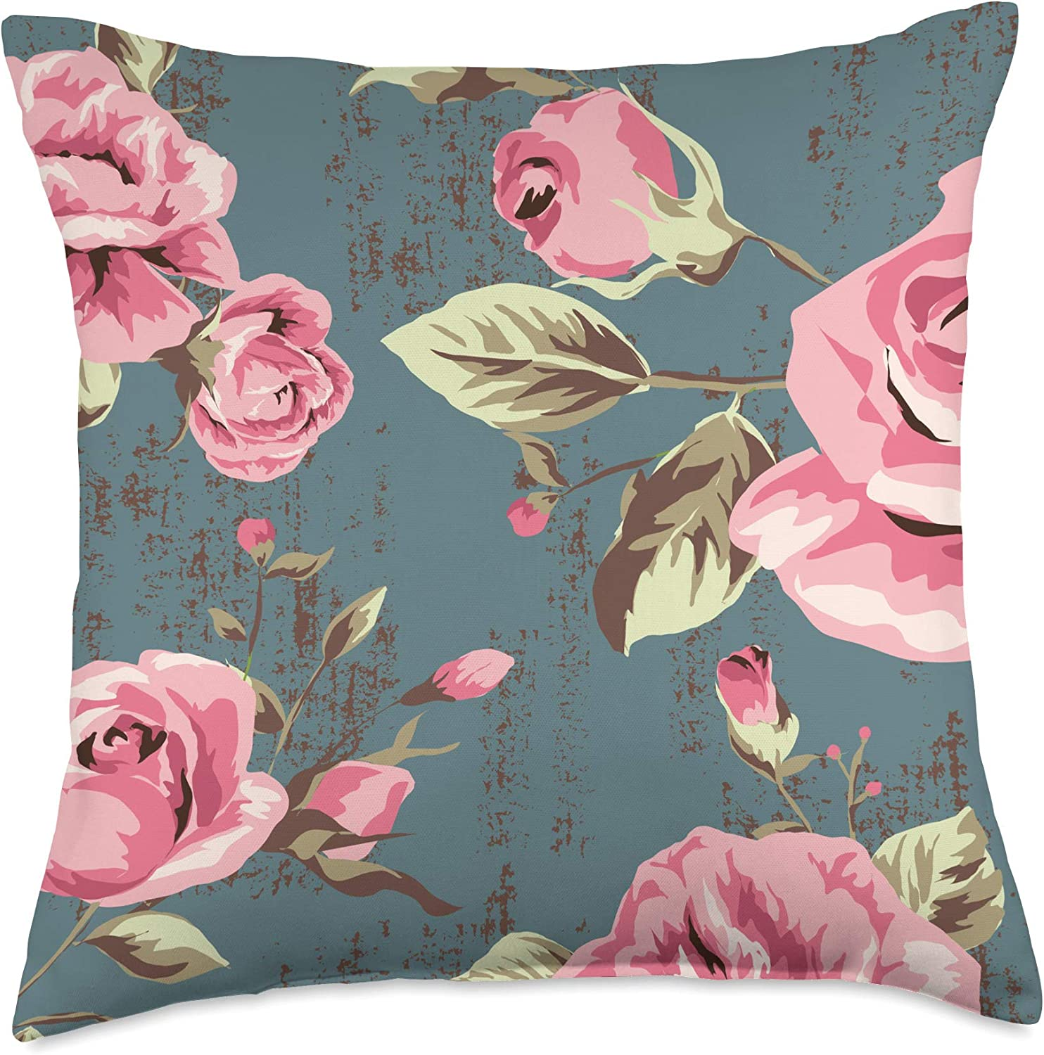 Vintage English Garden Roses Blue Background Pink Roses Throw Pillow, 18x18, Multicolor