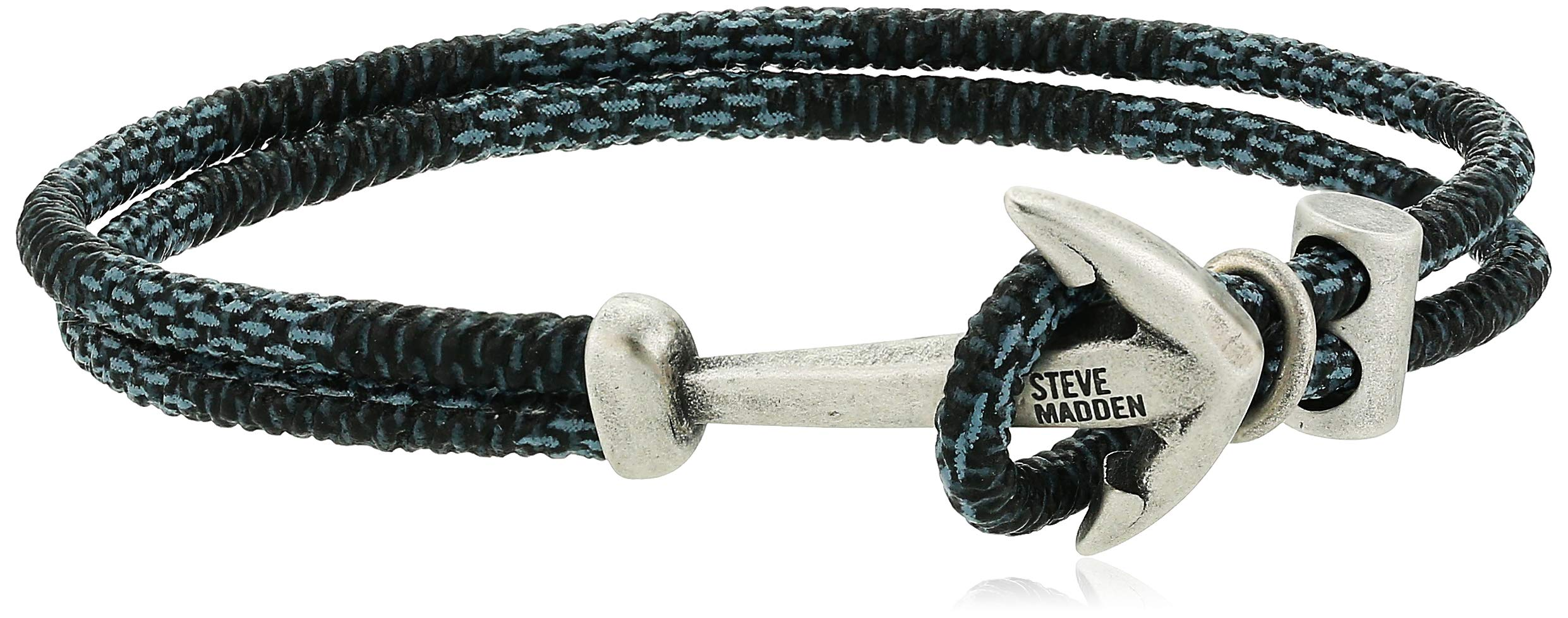 Steve Madden Mens Ombre Braided Leather Bracelet with Anchor Hook