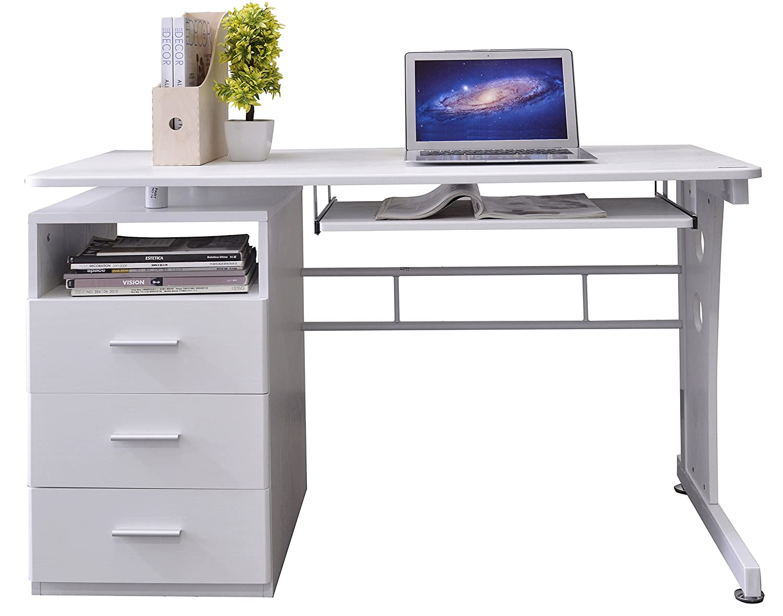 Scrivania Ufficio Ovvio : Sixbros. office scrivania porta pc tavolo ufficio colore bianco