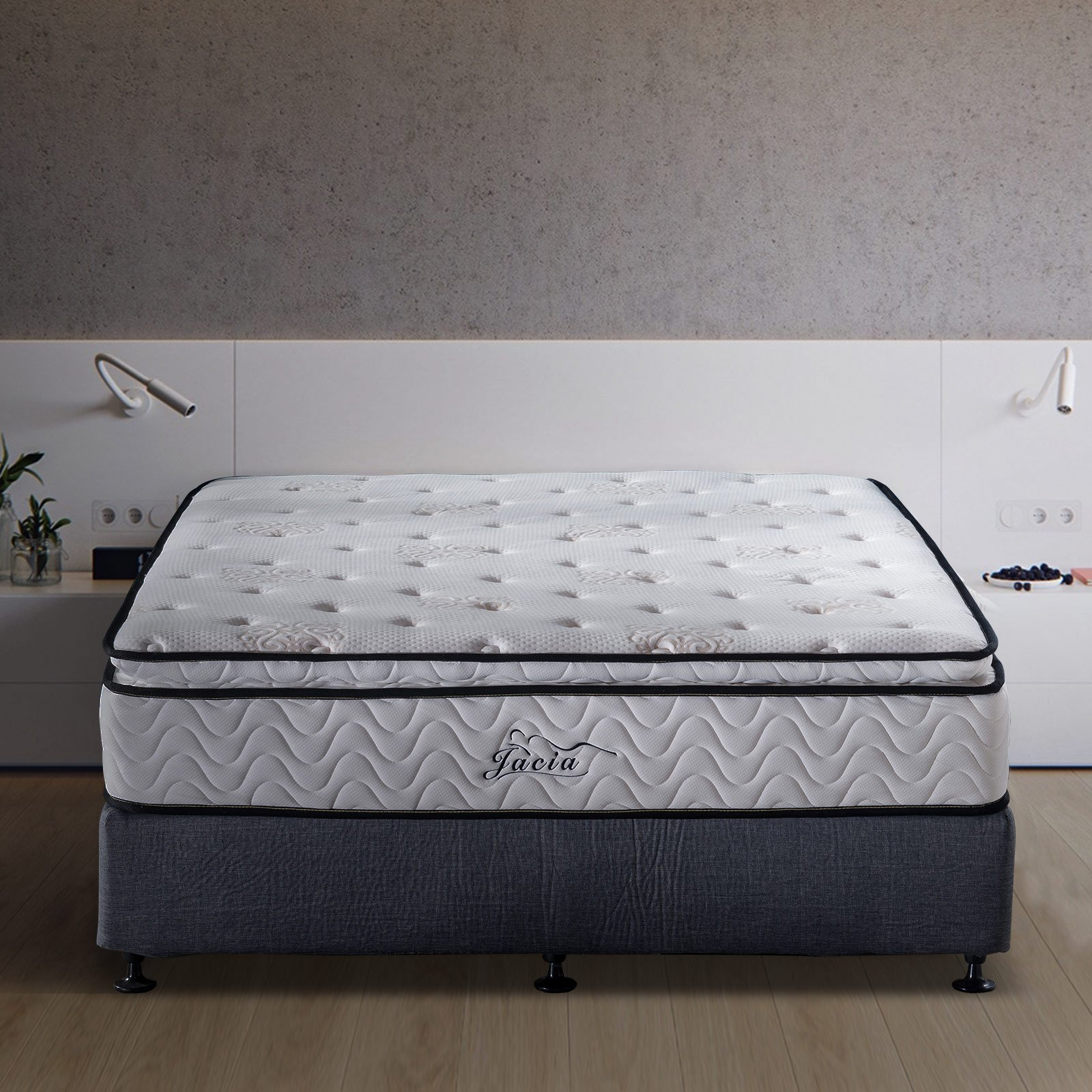 Jacia House 11.4 Inches Pillow Top Pocket Spring Hybrid Mattress, Memory Foam Innerspring Firm Mattress -Bed in a Box-King Mattress by Jacia House