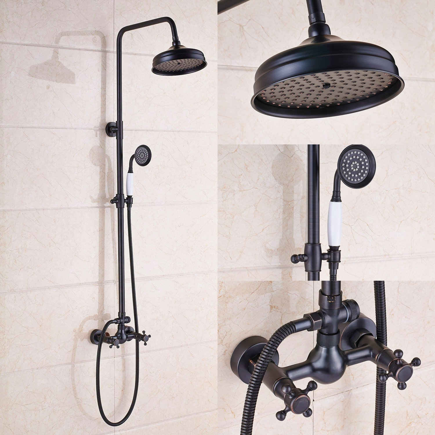 Rozin Bathroom 2 Knobs Mixer Shower Faucet Set 8-inch Rain Shower Head + Hand Spray Oil Rubbed Bronze by Rozin