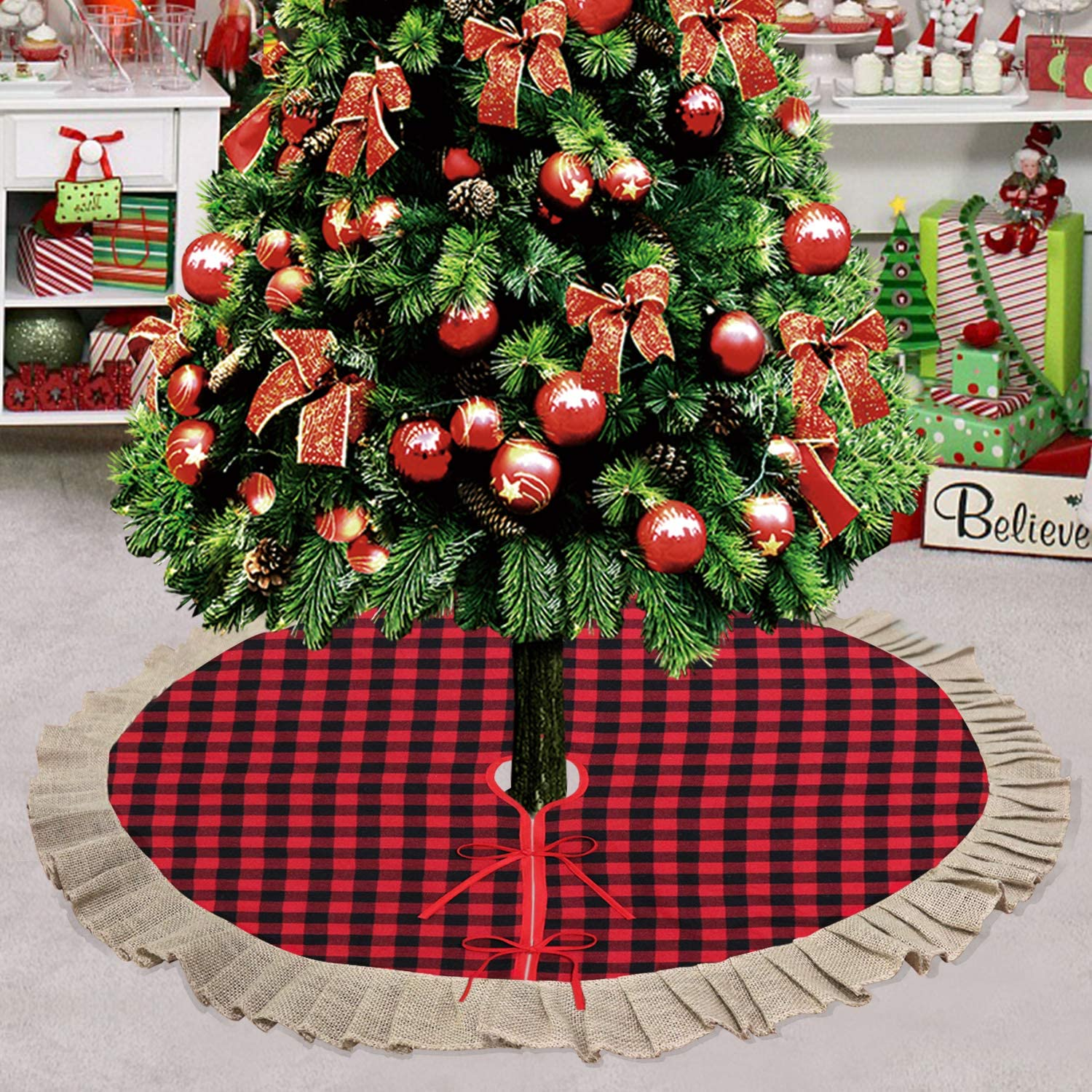 Partyprops Christmas Tree Skirt, Large 48 Inch Red Black Buffalo Plaid Tree Skirt, Burlap Ruffle Double Layers Tree Skirt for Christmas Decorations, Xmas Holiday Decorations Indoor Outdoor