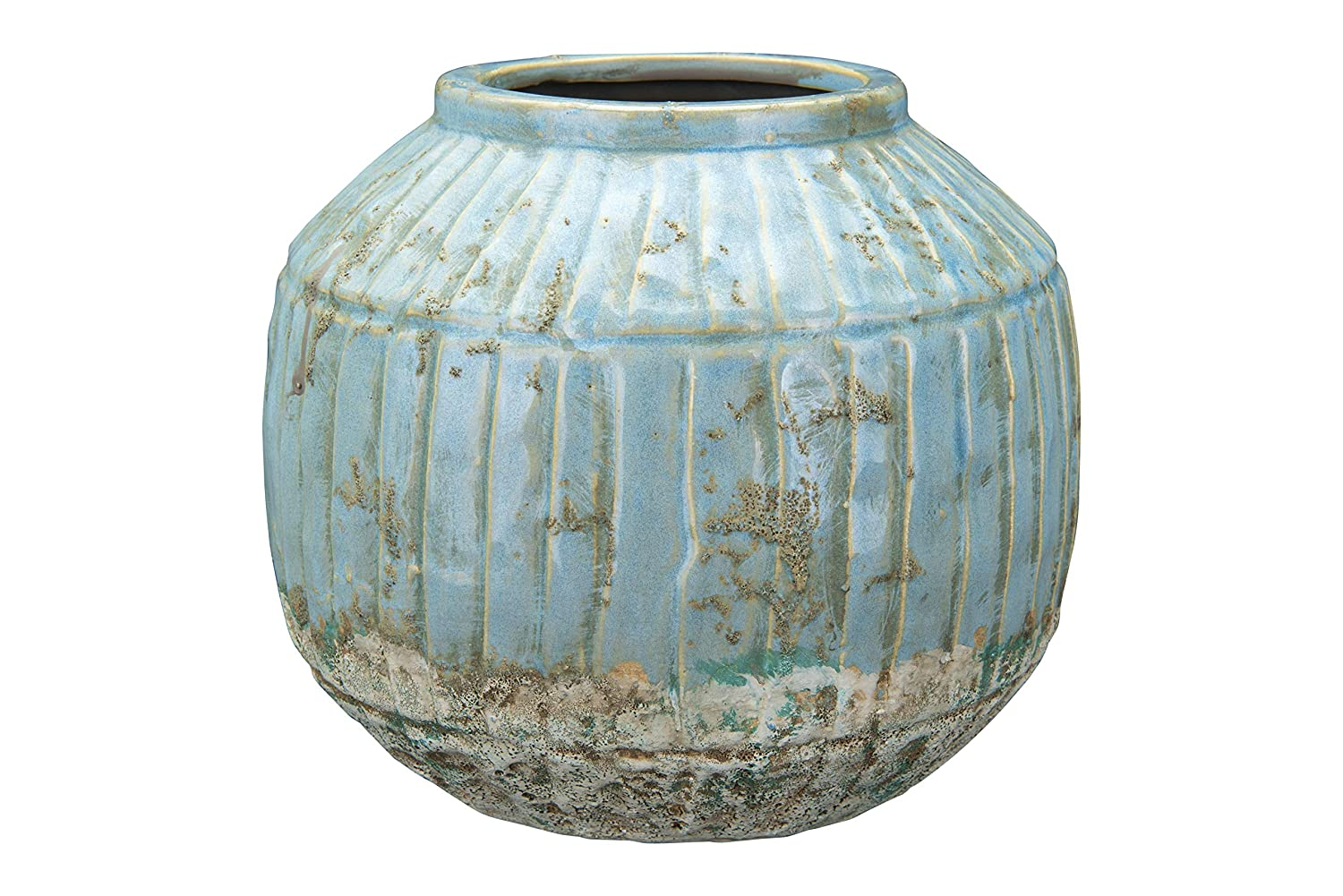 Rustic distressed turquoise blue round planter for French farmhouse and European country decorating.
