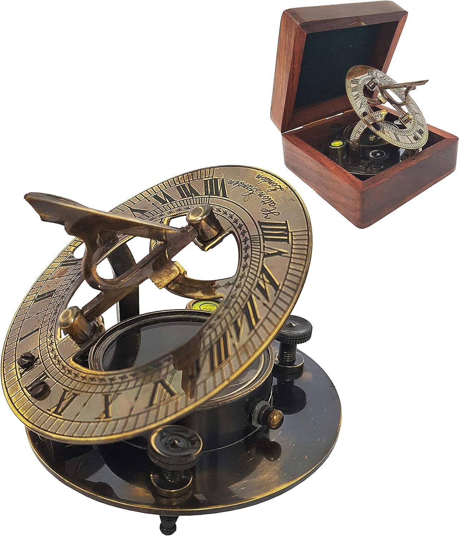 Brass Compass - Antique Brass Sundial Compass Marine Boat Gift Pocket Sun Dial in Box Nautical Marine Gift Sun Clock Pirate Ship Replica Watch