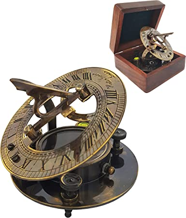 Copper Antique Style Brass Sundial Working Compass With Leather Case Christmas G