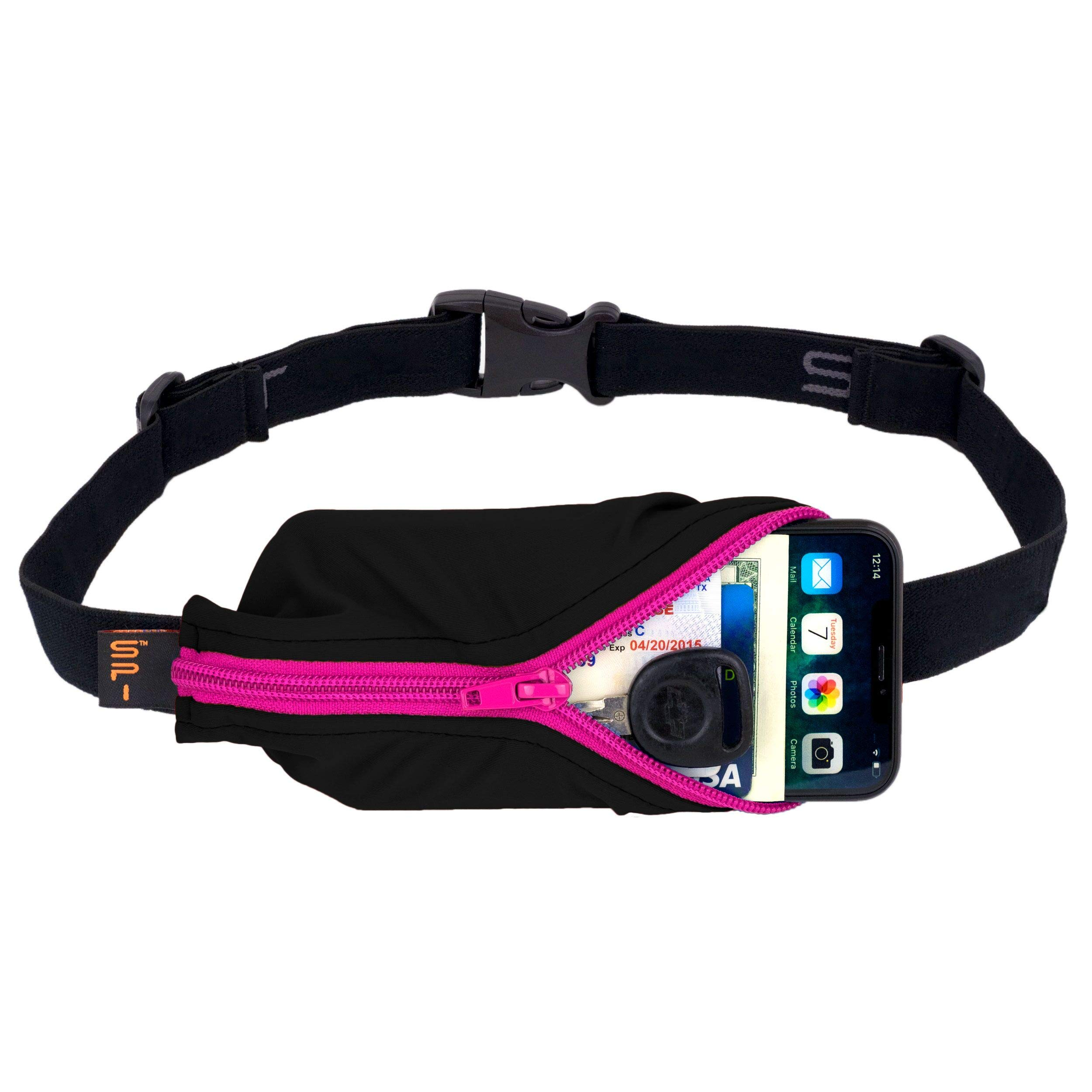 SPIbelt: Large Pocket No-Bounce Running Belt for Runners, Athletes and Adventurers - Fits iPhone 6+ and Other Large Phones - Hot Pink Zipper by SPIbelt