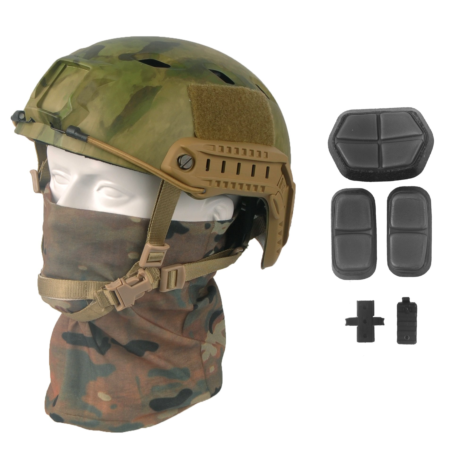 LOOGU Fast BJ Base Jump Military Helmet with 12-in-1 Headwear(at-FG) by LOOGU