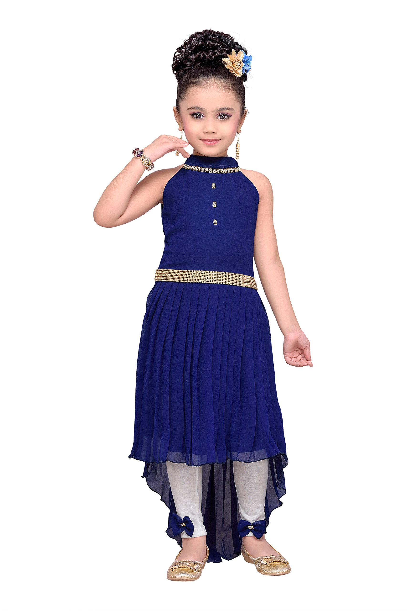 4a12e93ad4 Galleon - ADIVA Girl's Indian Party Wear High Low Dress Clothing Set For  Kids (G-1121-NAVY-BLUE-22)