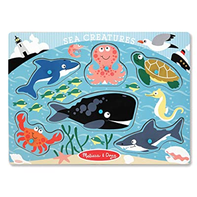 Melissa & Doug Sea Creatures Wooden Peg Puzzle (6 pcs): Melissa & Doug: Toys & Games