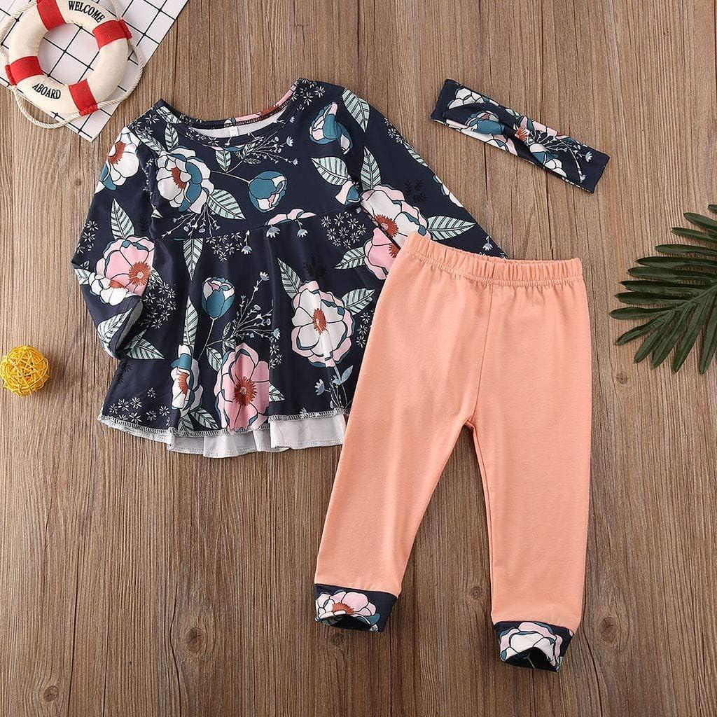 NHNX Kinder Baby M/ädchen Langarm Top Kleid Stirnb/änder Stirnband Kleidung 3 St/ücke Set 0-24 Monate Lila Orange Gelb Rosa Blumen Lange Hose Floral Bedruckte Hosen