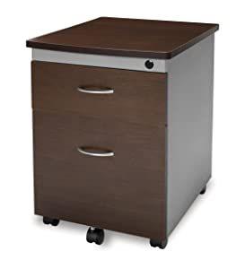 OFM Modular Mobile Pedestal 2-Drawer File / Box Cabinet, Walnut