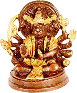 Purpledip Brass Idol Hanuman/Bajrangbali in Panchmukhi Avatar: Unique Copper Gold Finish for Home Temple, Office Table or Shop Puja Shelf | Hindu Religious Gift (11316)