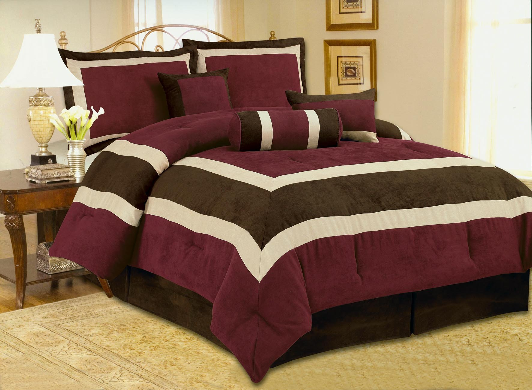 High Quality Soft Micro Suede Comforter Set Bedding-in-a-bag, Burgundy - Queen
