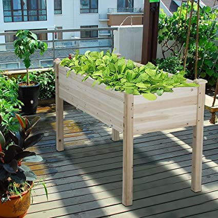 Yaheetech Wooden Raised/Elevated Garden Bed Planter Box Kit For  Vegetable/Flower/Herb