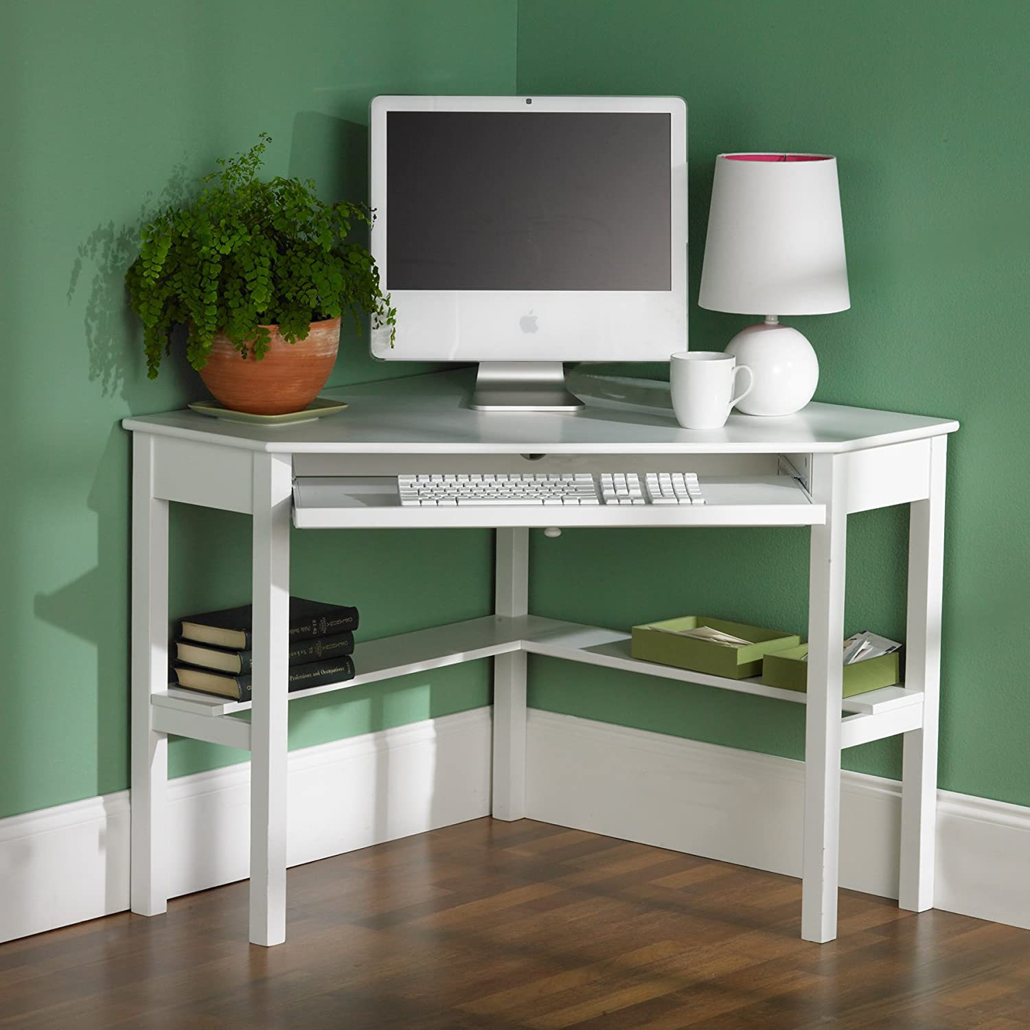 amazoncom southern enterprises alexander corner computer desk in painted white kitchen u0026 dining