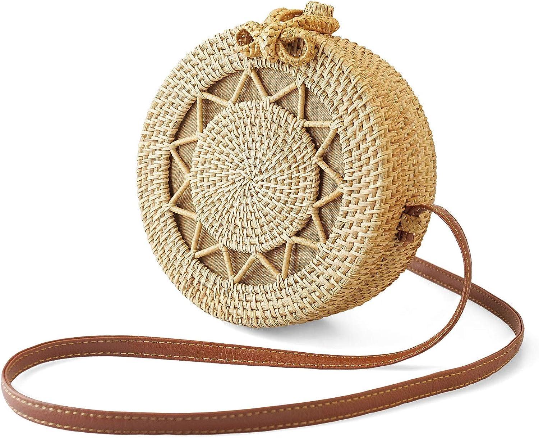 SUNKY Handwoven Round Rattan Bag Crossbody Bags Handmade Clutch Woven Handbag For Women