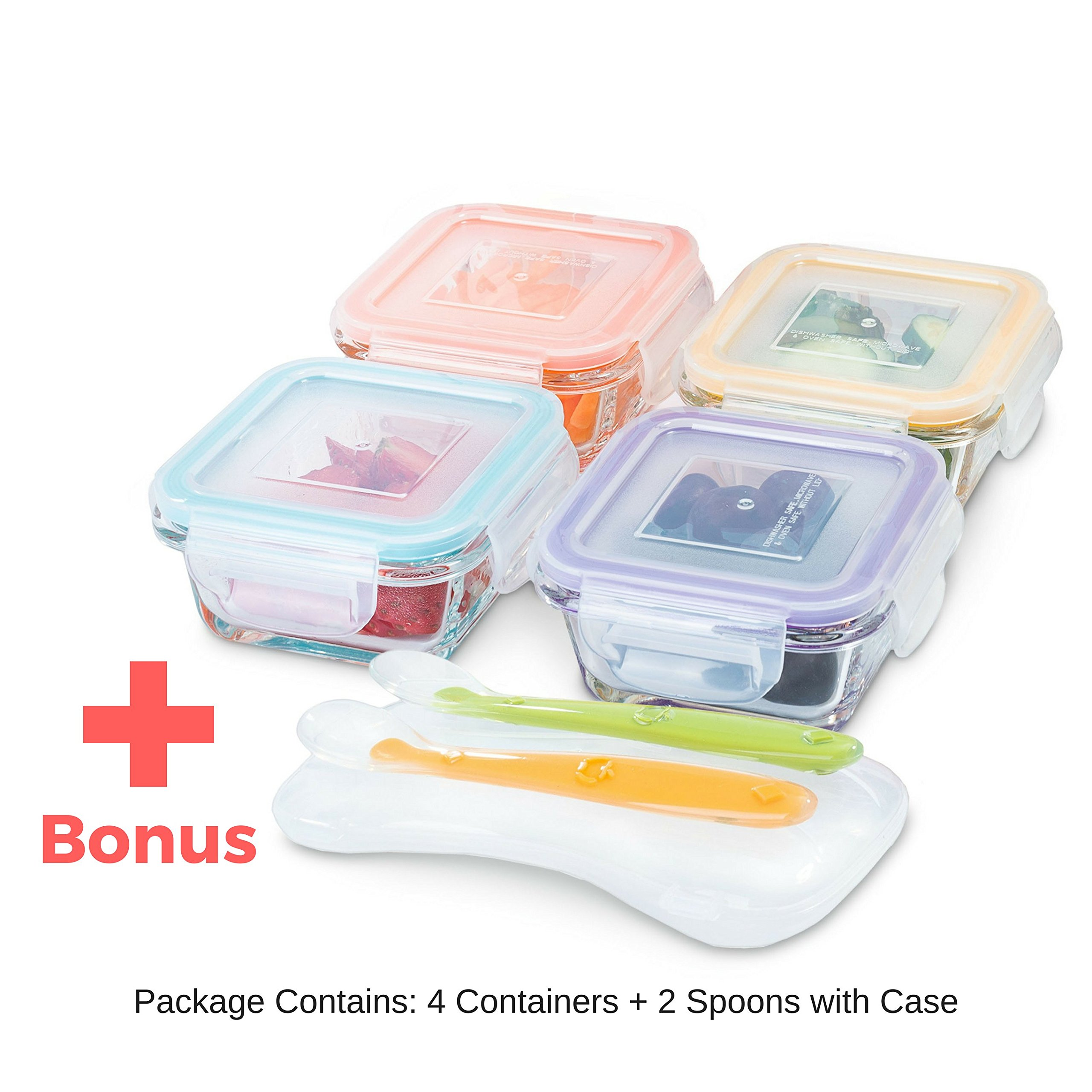 Glass Baby Food Storage Containers - 4 oz, BPA Free- Small Feeding Jars with Lids for Homemade Toddler Food Maker or Kids Lunch Box - Perfect Baby Shower Registry Gift Set (4 Containers + 2 Spoons)