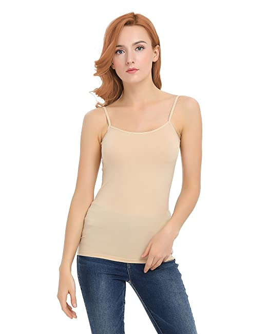 cc585d7c384 YTUIEKY Women's Cami Camisole Basic Solid Long Length Spaghetti Strap Tank  Top - Seamless Sleeveless Comfy Tank Top
