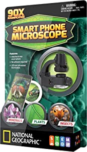 NATIONAL GEOGRAPHIC Cell Phone Pocket Microscope - 90x Magnification, Quickly Attaches to Any Smart Phone Camera, Easy to Focus and Capture Close Up Images, Durable Design