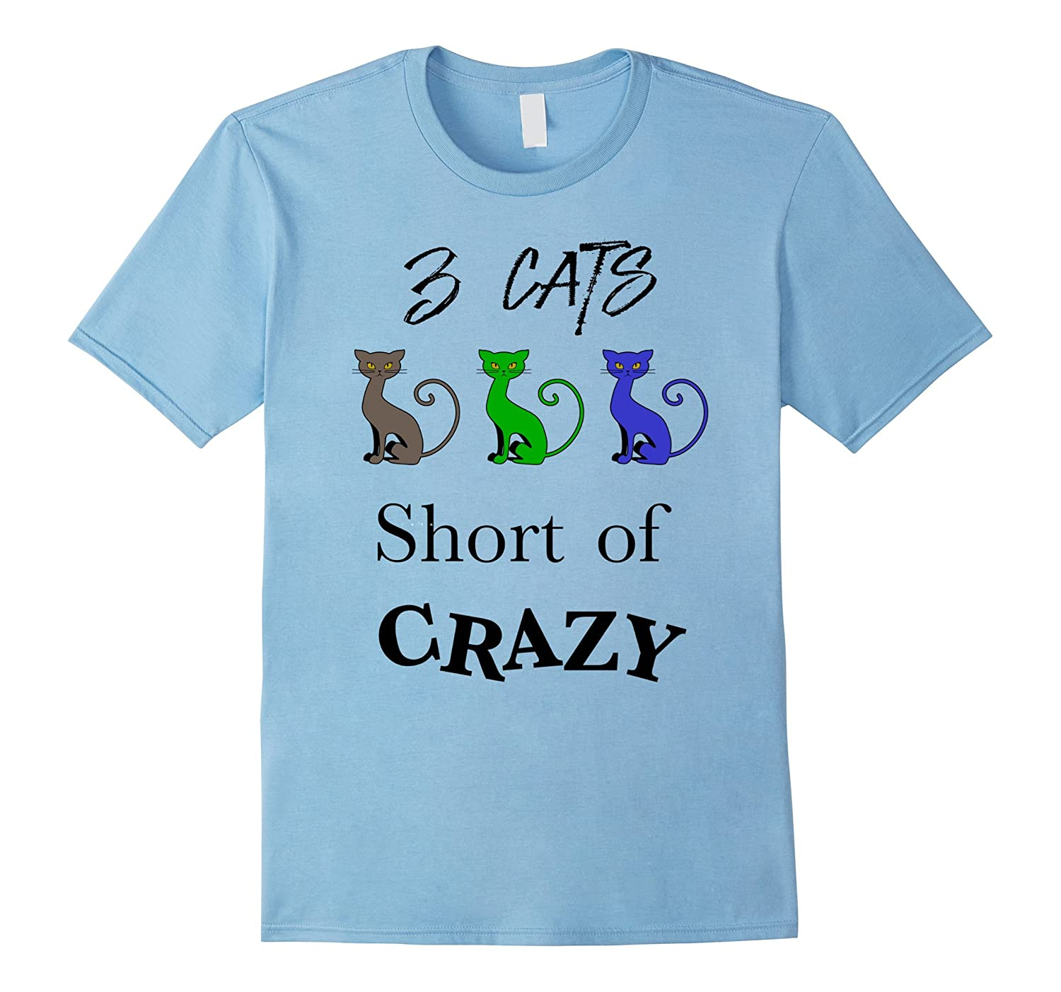 3 Cats Short Of Crazy Lady TShirt-Vaci