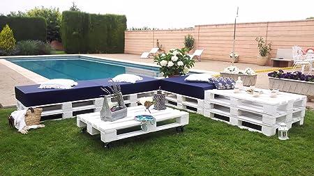 europalet Chillout Modular palets para terraza y jardín Color Blanco: Amazon.es: Hogar