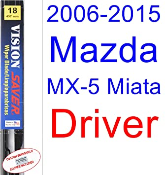 Amazon.com: 2006-2015 Mazda MX-5 Miata Wiper Blade (Driver) (Saver Automotive Products-Vision Saver) (2007,2008,2009,2010,2011,2012,2013,2014): Automotive
