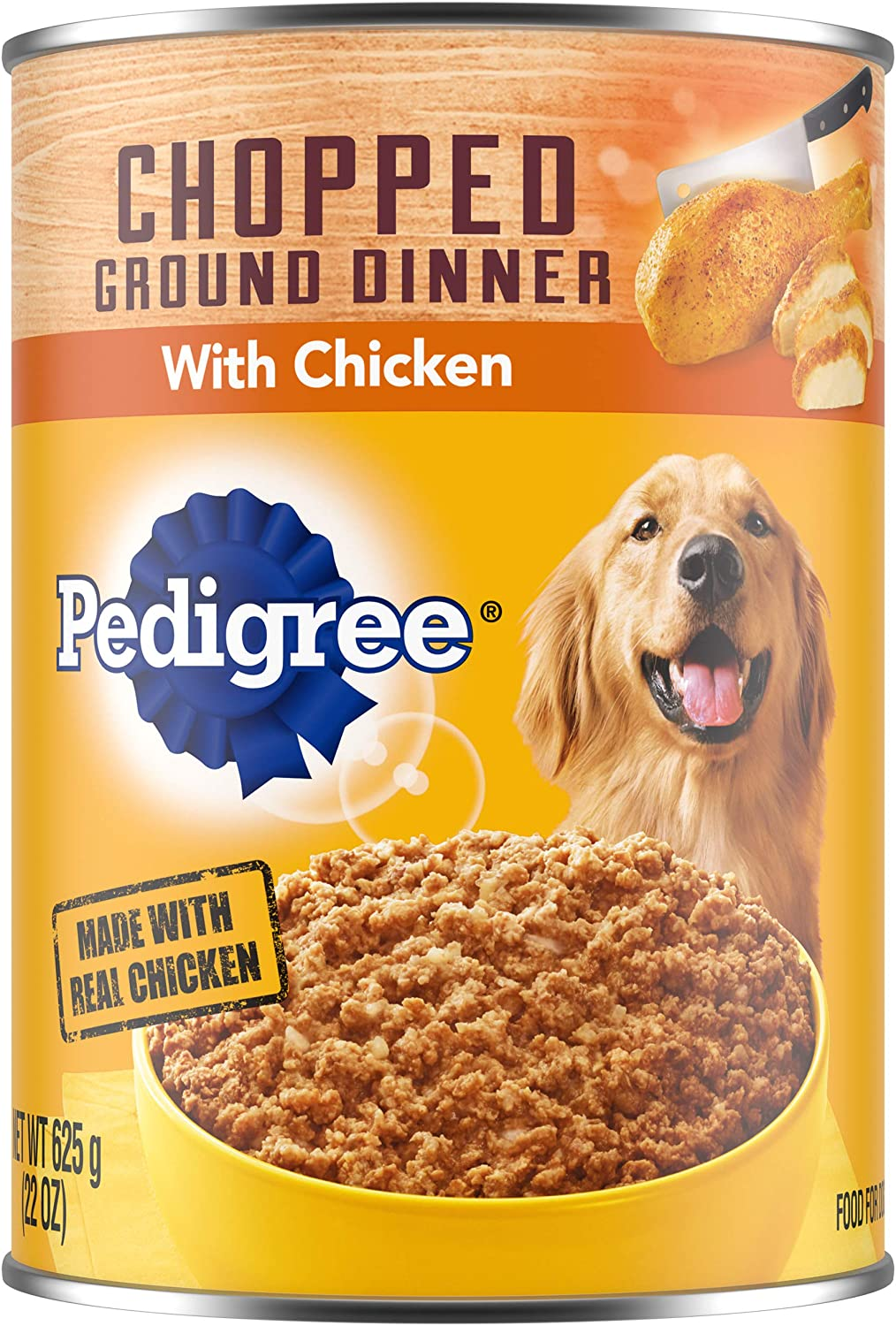 PEDIGREE Adult Canned Wet Dog Food Chopped Ground Dinner with Chicken, (12) 22 oz. Cans