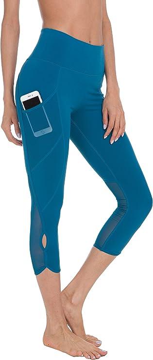 QUEENIEKE Women 22 inch Yoga Capris Power Flex Medium Waist 3 Phone Pocket Running Pants Workout Tights Legging Tummy Control