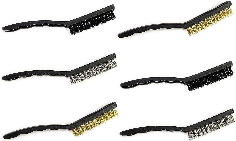 Steel Brush and Brass Bristles Brush Nylon Brush Set of 6 Mini Wire Brushes