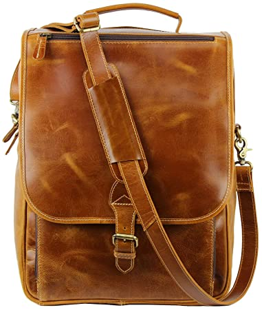 c4686bb031 Amazon.com  Genuine Full Grain Leather Backpack Laptop Messenger Bag for Men  and Women 15