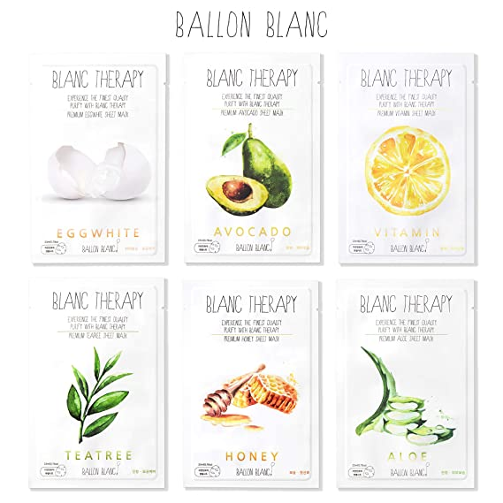 Ballon Blanc Therapy Face Moisturizer Facial Sheet Mask Infused With Aloe,TeaTree,Avocado,Vitamin,Honey & EggWhite 6 Nutritional Essence Face Masks best sheet masks