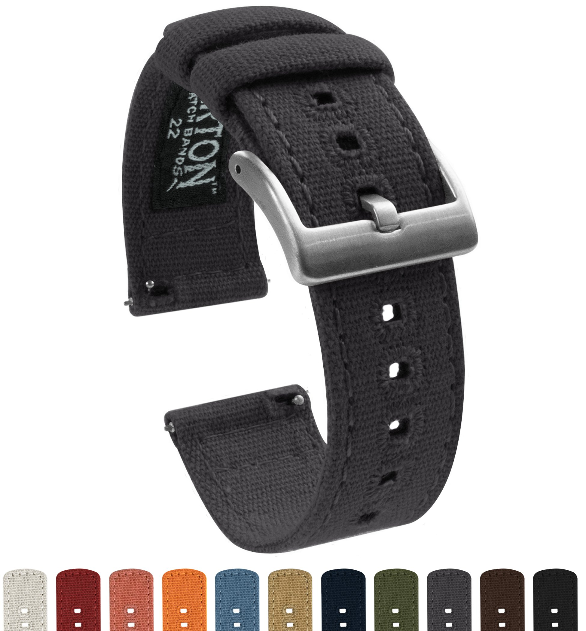 Barton Canvas Quick Release Watch Band Straps - Choose Color & Width - 18mm, 20mm, 22mm - Smoke Grey 22mm