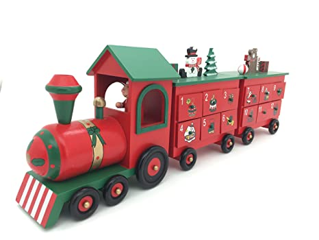 24 Inch Length Christmas Wooden Advent Calendar Train With Hand Painted Figurines And 24 Drawers To Fill Candy Or Small Gifts