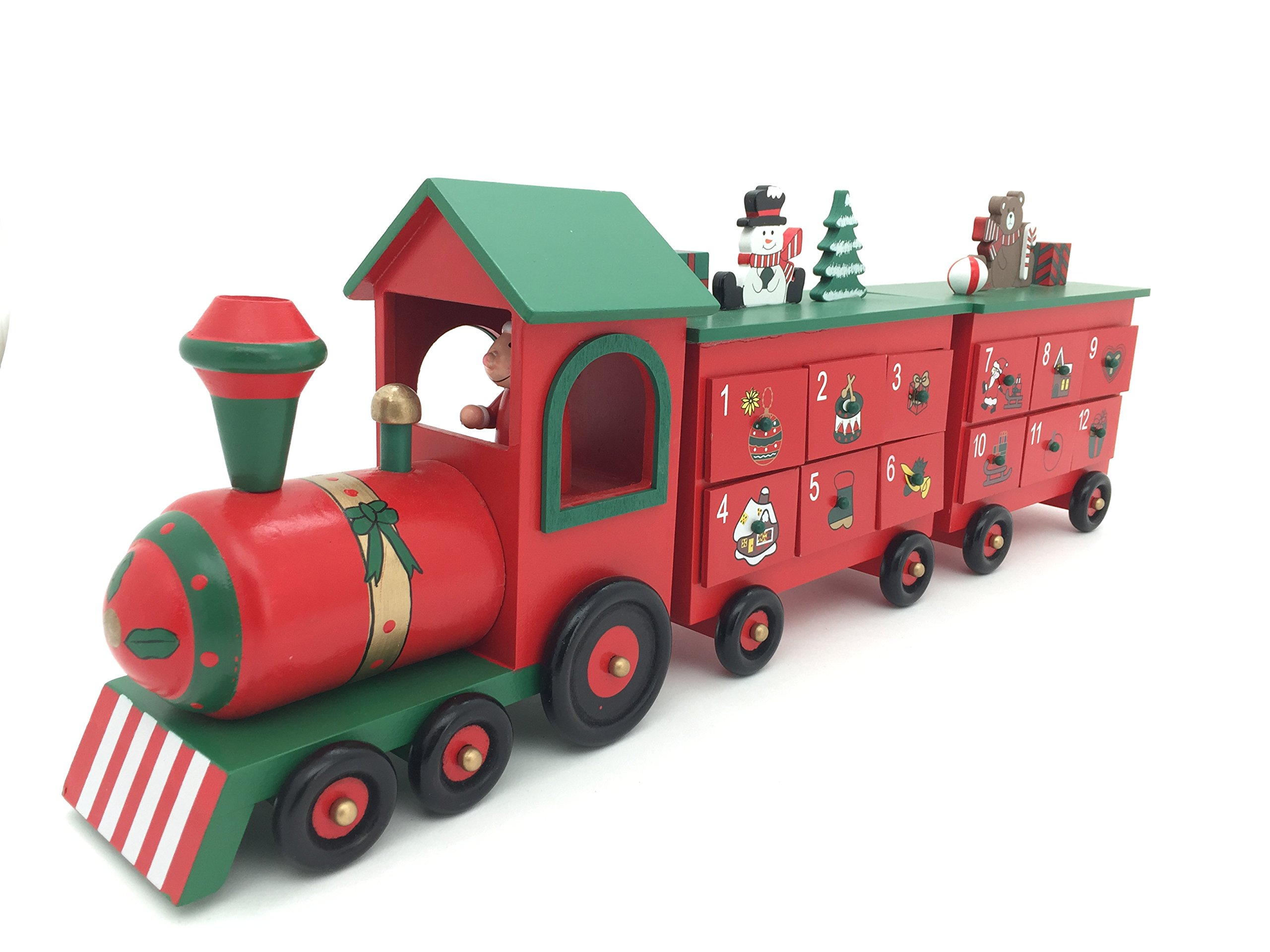 24 Inch Length Wood Advent Calendar Train for Christmas Decoration with 24 Drawers