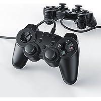 CSL - 2 x Gamepads/Controlador de Mando para Playstation 2 / PS2 con Doble vibración   Negro