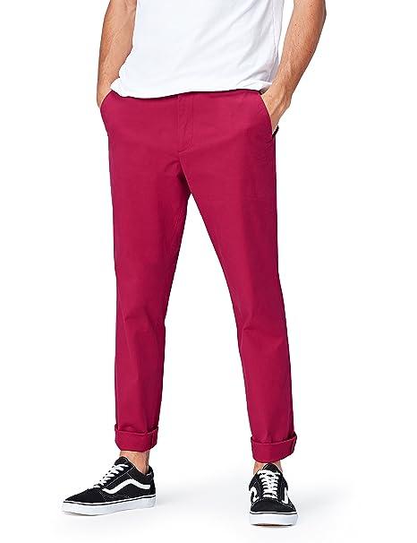 FIND Pantalones Chinos para Hombre, Fucsia (Fushia Red), W30/L32 (