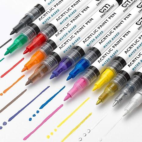 Rotuladores Acrilicos con Punta Fina de 0,7mm para Pintar Sobre Rocas, Madera, Porcelana, Hacer Tarjetas y Bricolaje - 12 Colores Permanentes